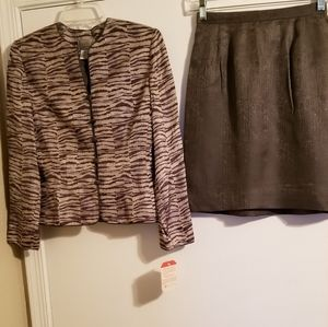 Adrianna Papell NWT silk 2pc skirt suit